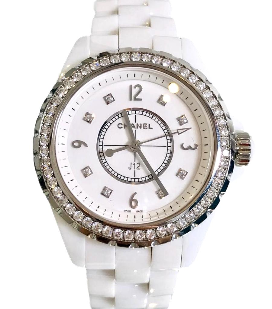 37bf5474c1708 Chanel J12 White Ceramic Watch with Diamond Bezel – Shush At The ...