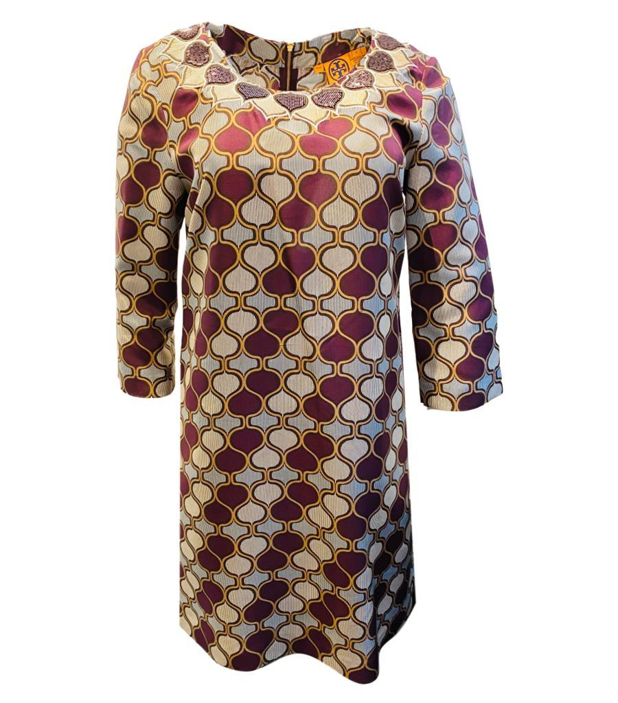 Tory Burch Silk Beaded Dress. Size S