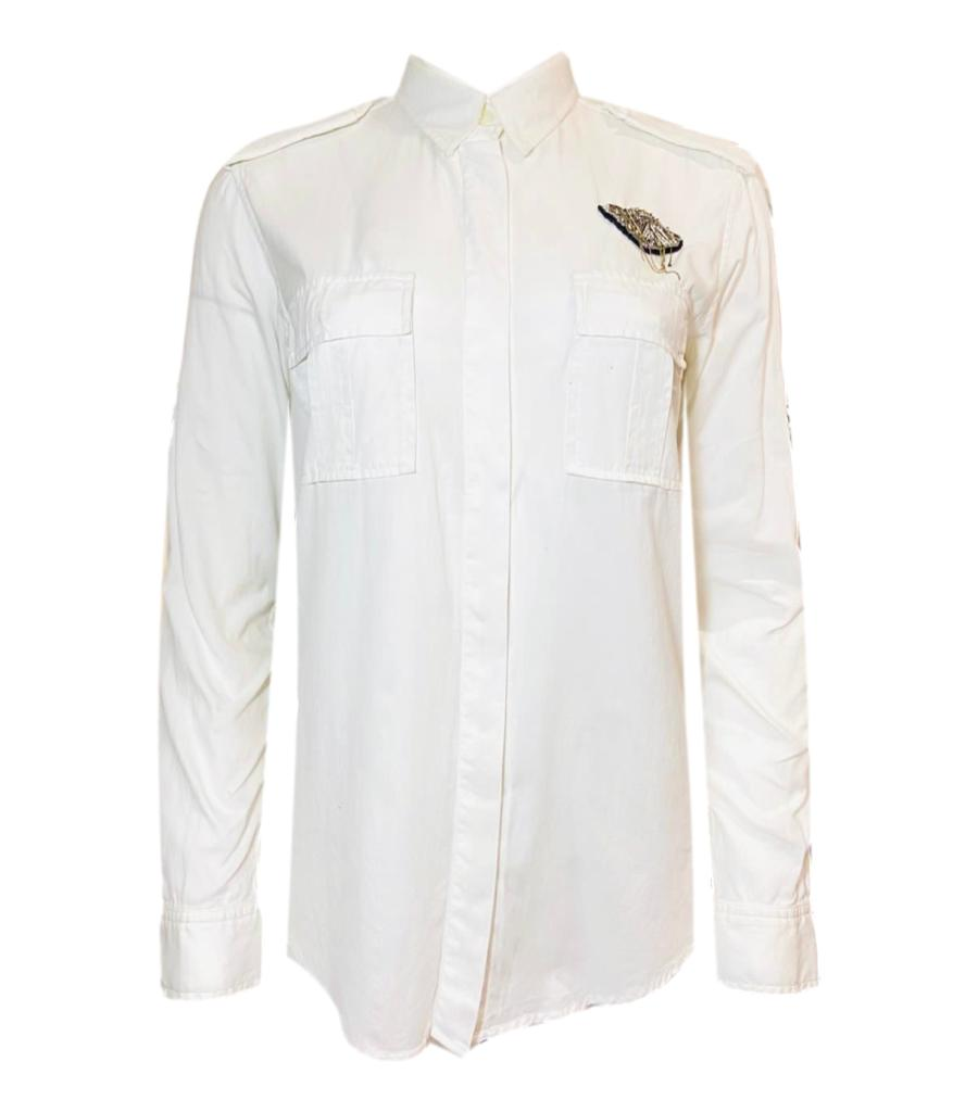 Balmain Cotton Shirt With Safety Pin Brooch. Size 36FR