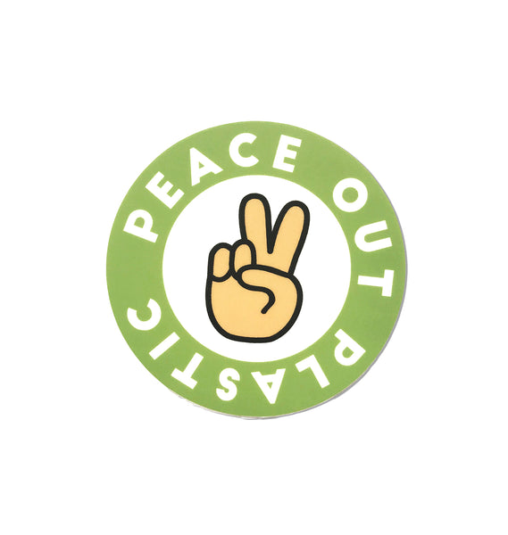 Peace Out Plastic Matte Sticker | Great for Water Bottles, Laptop Decal | Save Our Oceans