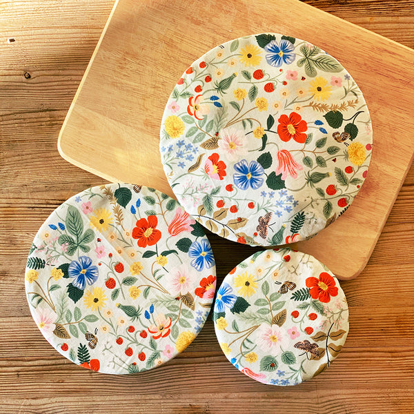 Reusable Washable Cotton Fabric Food Baking Bread Fruit Mixer Bowl Covers | Zero Waste Eco-friendly Sustainable Gift Kitchen Tool Accessory | Rifle Mint Floral Kitchen