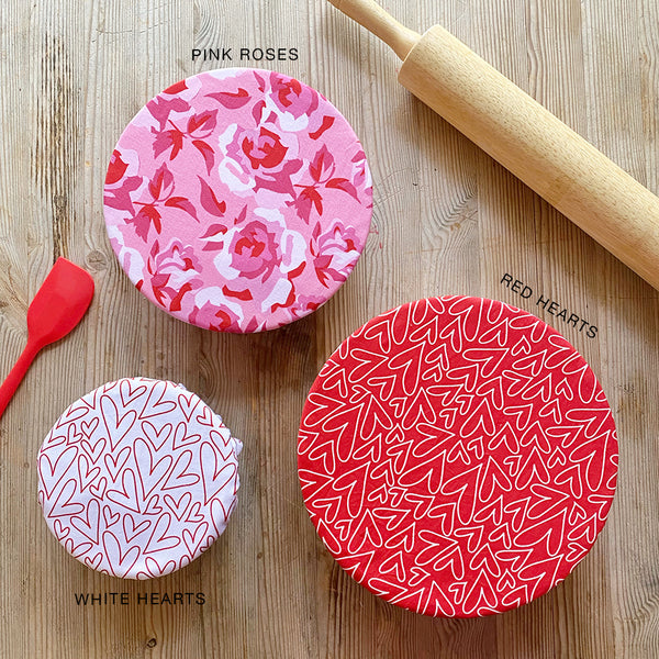 Valentine's Pink Roses Red White Hearts Set | Reusable Cotton Fabric Food Baking Bread Mixer Bowl Covers | Zero Waste Eco-friendly Sustainable