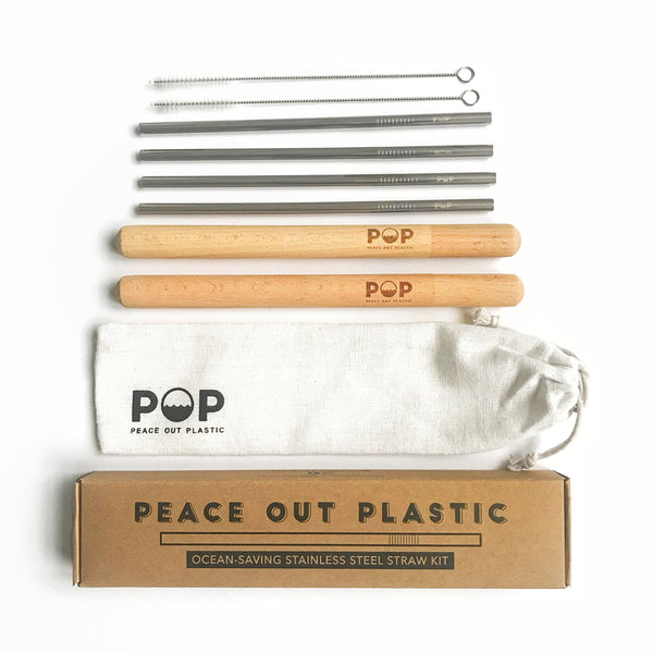Stainless Steel Metal Drinking Straw Brush Gift Set With Wooden Case | Eco-friendly Reusable Straws