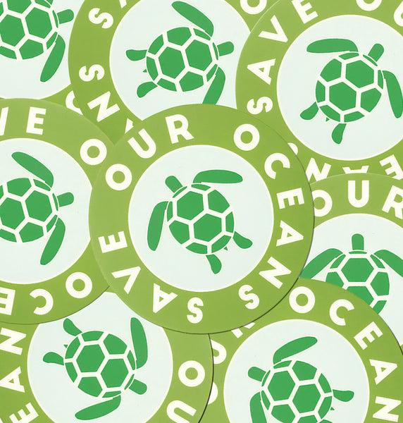 Save Our Oceans Sea Turtles Matte Sticker | Great for Water Bottles, Outdoor Gear, Laptop Decal