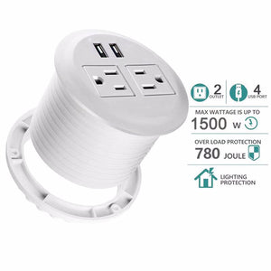 UL Certified Desktop Power Grommet with Two Power Sockets, Two Quick USB Charging Ports, 6FT Power Cord and Lock Ring