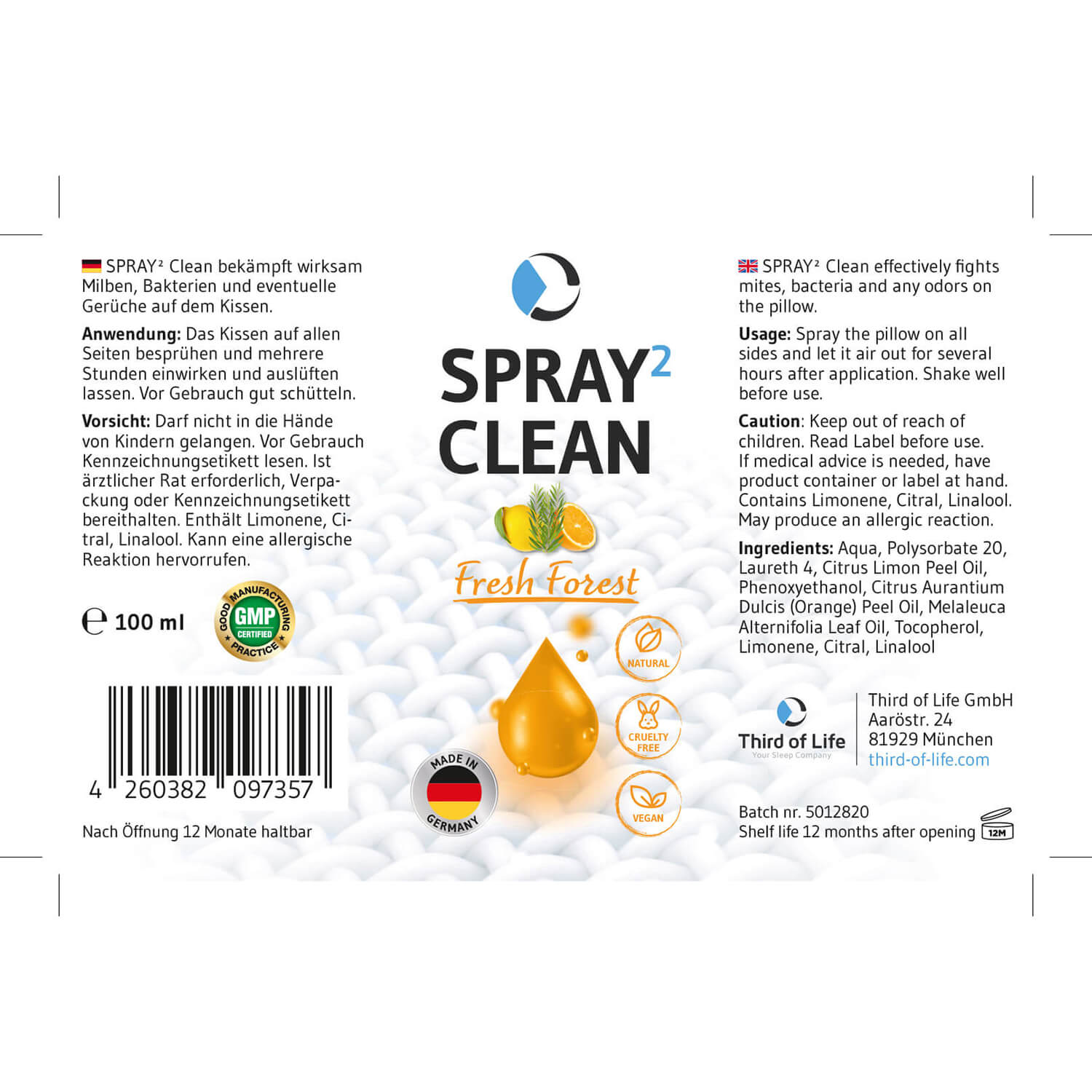 SPRAY² Clean Fresh Forest Cleaning-Kissenspray