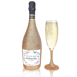 70cl Personalised Glitter Prosecco & Matching Champagne glass - Pastel Flower Design - glitter prosecco