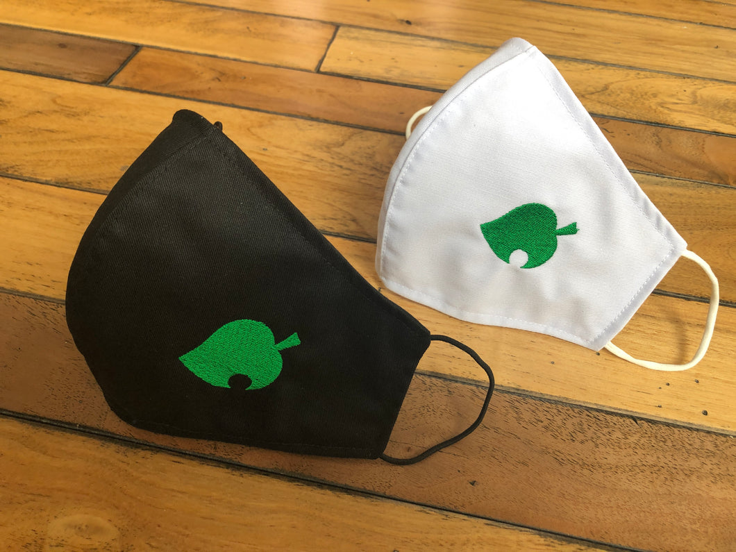 Animal Crossing Leaf Reusable Face Mask, Cloth Mask with Embroidery