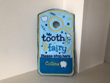 Load image into Gallery viewer, Tooth fairy door hanger, personalized tooth pocket, fairy money pocket