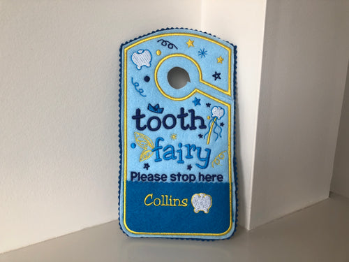 Tooth fairy door hanger, personalized tooth pocket, fairy money pocket