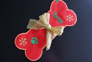 Personalized Dog stocking, Red Burlap pet Stocking with Gold Bow