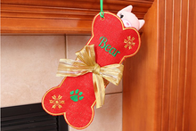 Load image into Gallery viewer, Personalized Dog stocking, Red Burlap pet Stocking with Gold Bow
