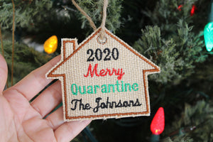 Personalized 2020 Family Christmas Ornament, Embroidered Burlap