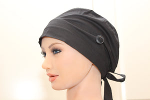 Scrub Cap for Women, Nurses, Doctors, Medical Students, Plain Black
