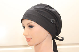 Scrub Cap for Women, Nurses, Doctors, Medical Students, Plain Black, less poof