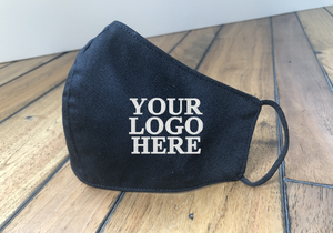 Custom Company Logo Embroidered Reusable Face Mask in Sets of 10, 20 to 100 Face Masks