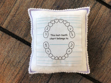 Load image into Gallery viewer, Personalized Tooth fairy pillow with tooth chart, custom tooth holder with pocket