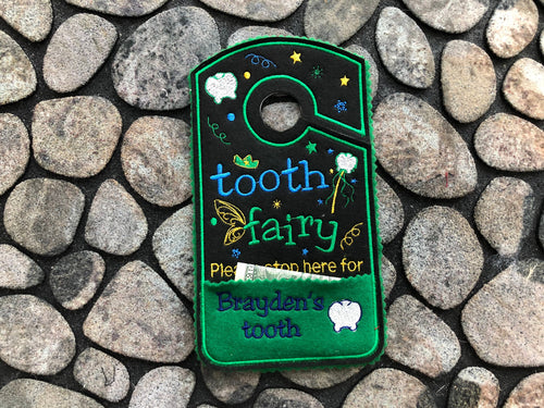 Tooth Fairy Door Hanger For Boys Personalized, please stop here Door Hanger, tooth chart