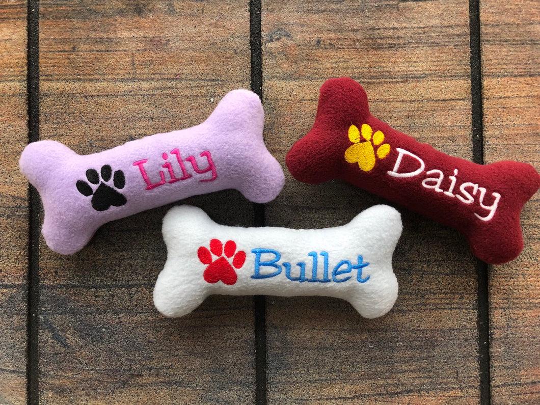 Personalized Dog Bone Shaped Dog Toy with Squeaker, Pet Plushies, Named Stuffed Puppy Toy