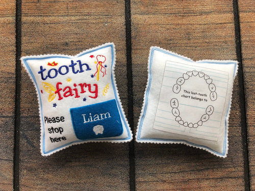 Personalized Tooth fairy pillow with tooth chart, custom tooth holder with pocket