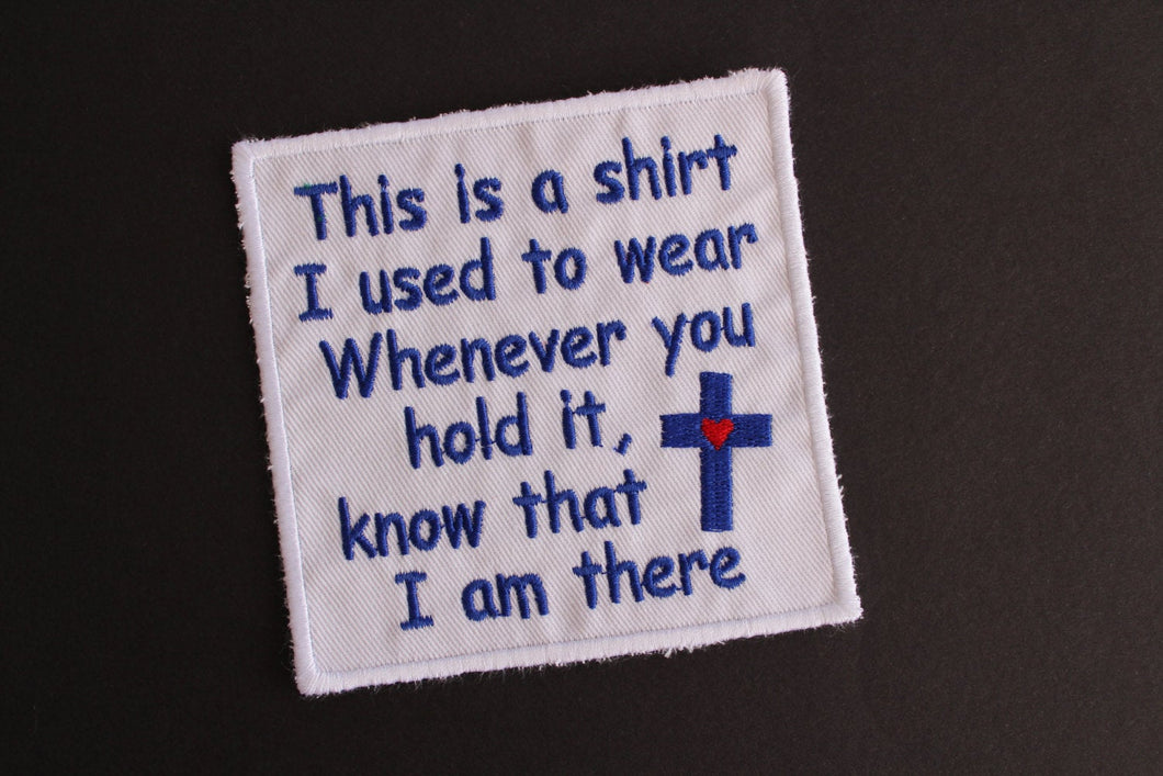 square Pocket Memorial Patch, pillow memory applique, this shirt i used to wear
