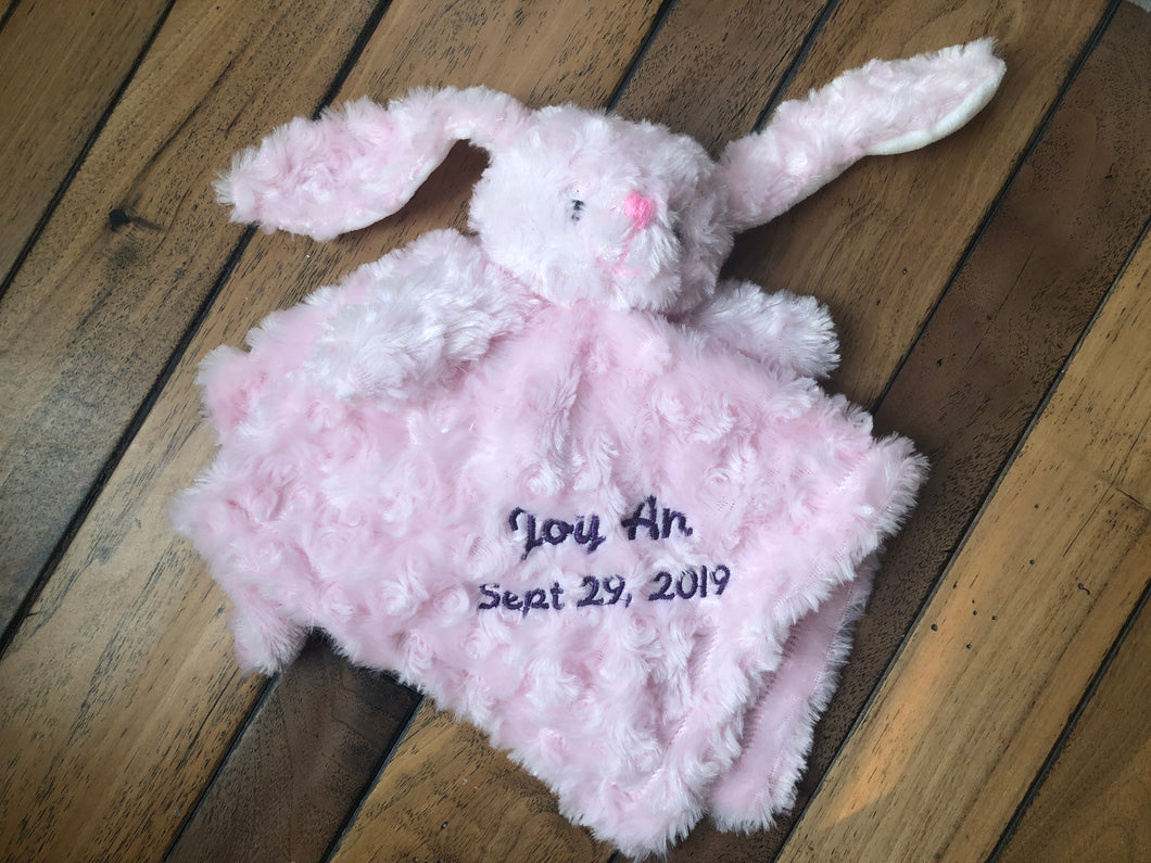 Baby Animal Lovey Security Blanket Personalized with Embroidery