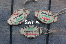 Load image into Gallery viewer, Set of 3 Funny 2020 Christmas Covid Ornament, Embroidered Burlap, Handmade