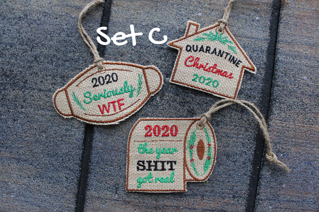 Set of 3 Funny 2020 Christmas Covid Ornament, Embroidered Burlap, Handmade