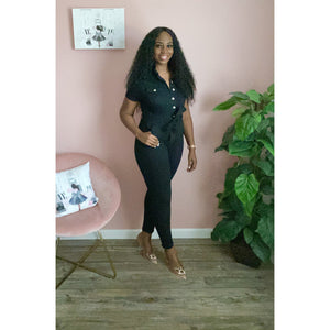 Maria Denim Jumpsuit-Black - JC's Boutique