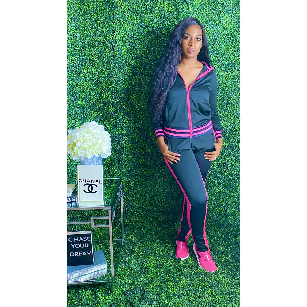 You got it girl Tracksuit Blk/Pink - JC's Boutique