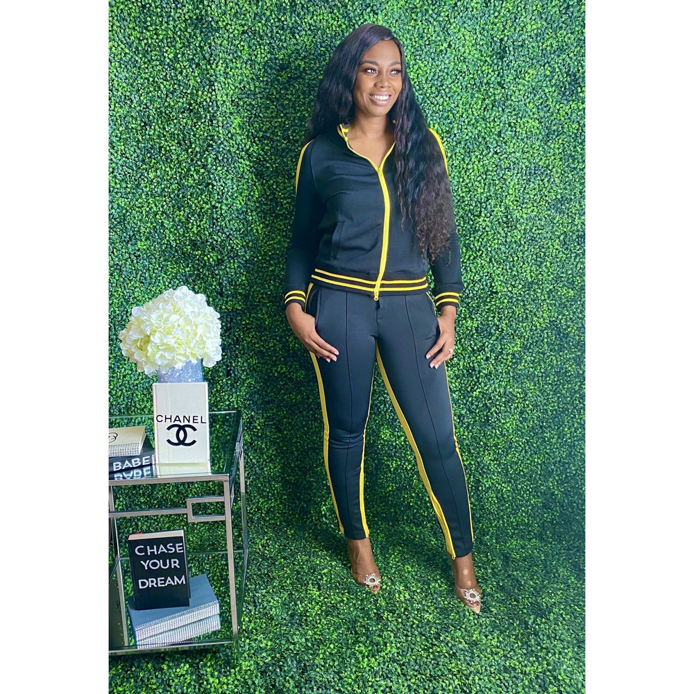 You got it girl Tracksuit Blk/Yellow - JC's Boutique