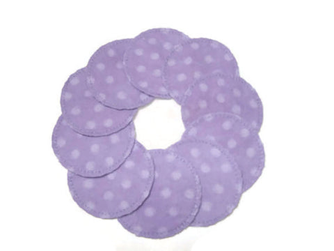 10 Lavender Dot Cotton Rounds