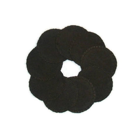 10 Black Reusable Cotton Rounds