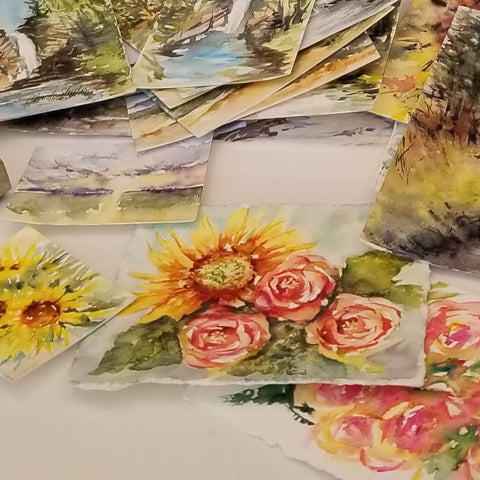 Completed watercolor paintings.  ©Christy Sheeler 2020