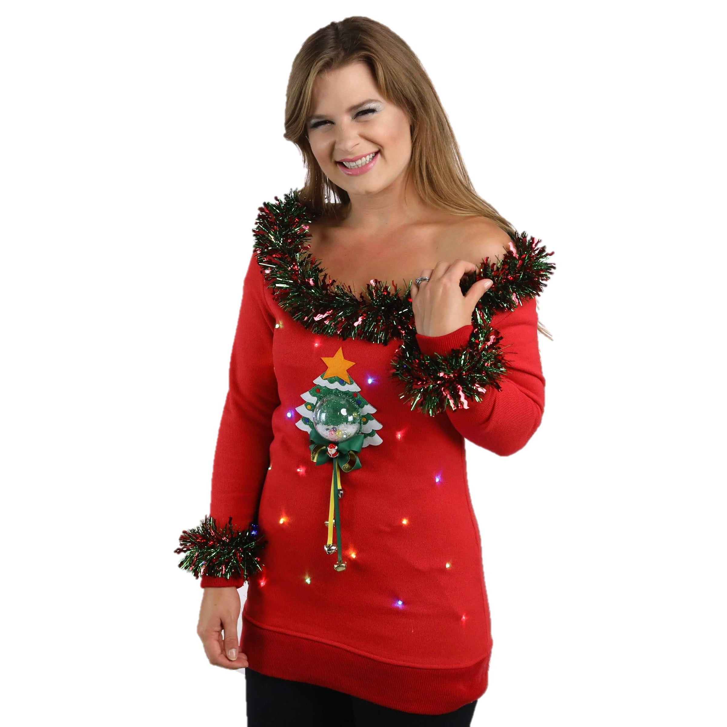 Women's Light Up 3D Snow Globe Jingle Tree Ugly Sweater
