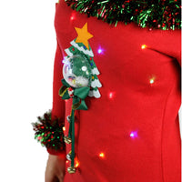 Women's Light Up 3D Snow Globe Jingle Tree Ugly Sweater-The Ugly Holidays-The Ugly Holidays
