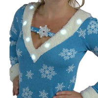 Women's Light Up Snowflake V Neck Christmas Sweater-The Ugly Holidays-The Ugly Holidays