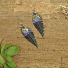 Load image into Gallery viewer, PRIORMADE Inner tube earrings 5cm Inner Tubes - Purple and Gold Lines