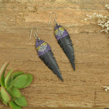 Load image into Gallery viewer, PRIORMADE Inner tube earrings 7cm Inner Tubes - Purple and Gold Lines