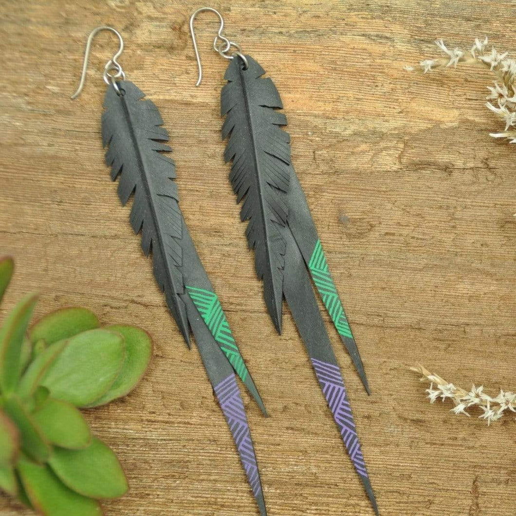 PRIORMADE Inner tube earrings Inner Tubes - Long  - Purple and Green