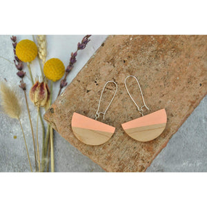 Priormade Wooden Earrings Blush Pink Dome  - Reclaimed Wooden Earrings (various woods and colours)