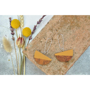 Priormade Wooden Earrings Dome  - Reclaimed Wooden Earrings (various woods and colours)
