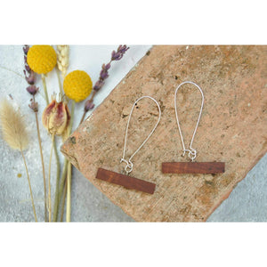 Priormade Wooden Earrings Jarrah - Radar Station Bar -  Reclaimed Wooden Earrings (various woods)