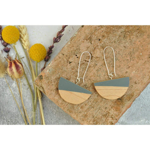 Priormade Wooden Earrings Light Grey Dome  - Reclaimed Wooden Earrings (various woods and colours)