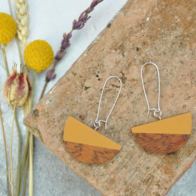 Priormade Wooden Earrings Ochre Dome  - Reclaimed Wooden Earrings (various woods and colours)