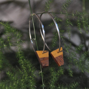 Priormade Wooden Earrings Reclaimed Wood Hoop Earrings - Church Organ
