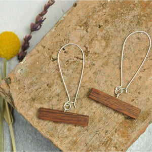 Priormade Wooden Earrings Sapele - 1700 Church Organ Surround Bar -  Reclaimed Wooden Earrings (various woods)