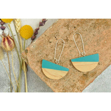 Load image into Gallery viewer, Priormade Wooden Earrings Turquoise Dome  - Reclaimed Wooden Earrings (various woods and colours)