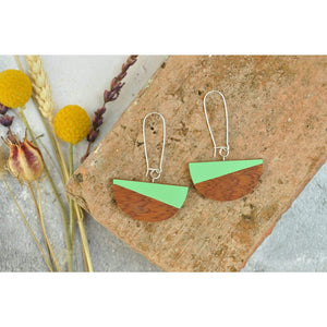Priormade Wooden Earrings Zing Green Dome  - Reclaimed Wooden Earrings (various woods and colours)
