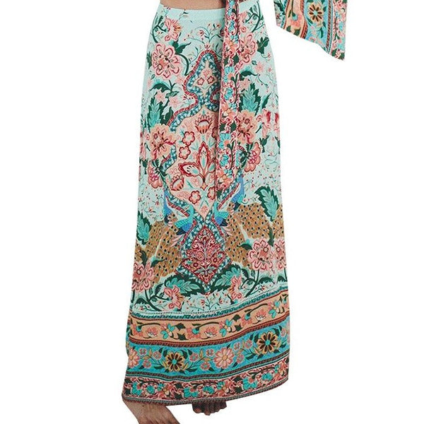 Boho Vintage Chic Peacock Floral Print Maxi Skirt